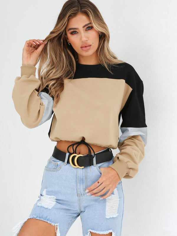 Stitching Round Neck Tie Sweatshirt