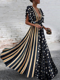 Bohemian Polka Dot Stitching Stripe Maxi Dress