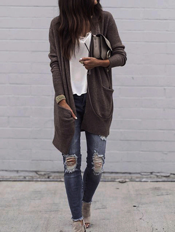 Knit Cardigan Loose Long Sleeve Coat