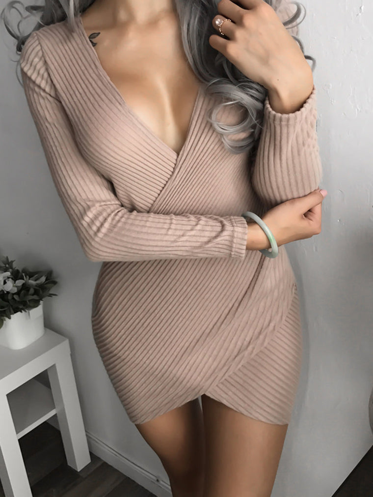 V-Neck Cross Crater Bodycon Dress