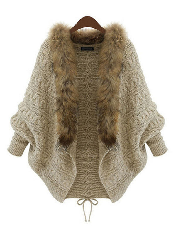 Loose Knitted Bat Sleeve Fur Collar Coat