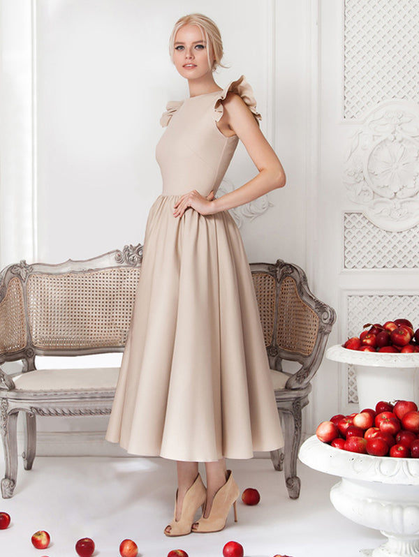 Elegant Round Collar Sleeveless Shift Dress