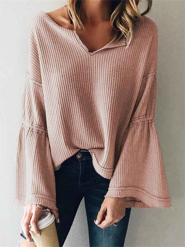V-neck Long-sleeved Loose Solid Color Casual Top