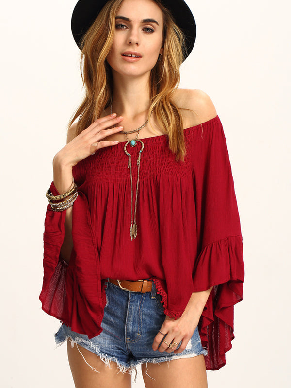 Red One Shoulder Strapless Long Sleeve Shirt