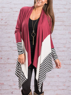 Long Sleeve Stitching Striped Cardigan Coat
