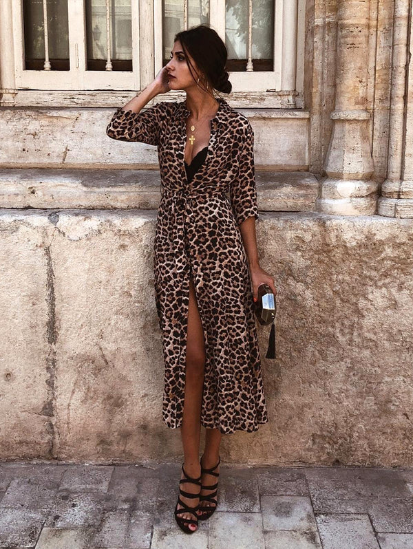 Long Sleeved Lapel Temperament Leopard Mix Dress