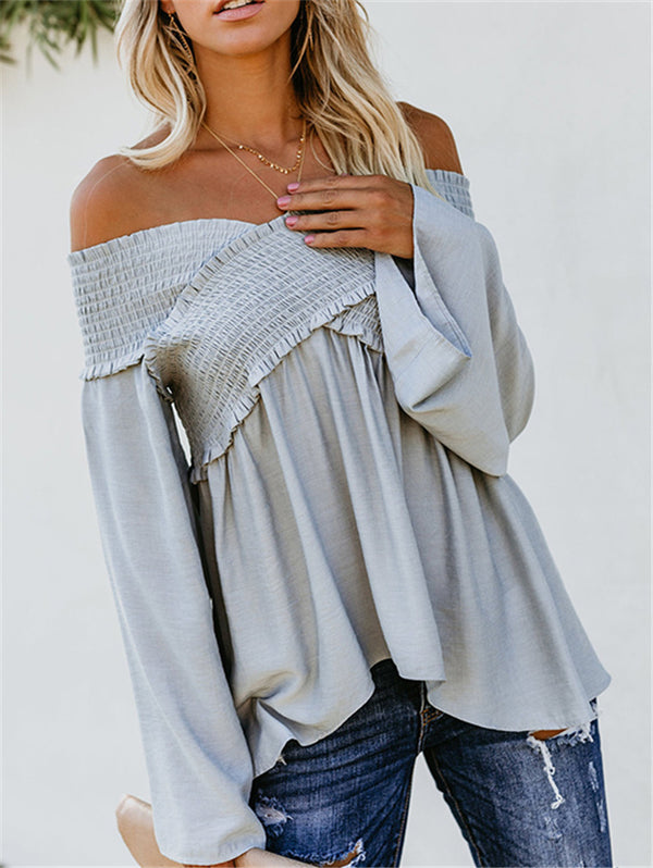 Elastic Off Shoulder Long Sleeve Loose T-Shirts