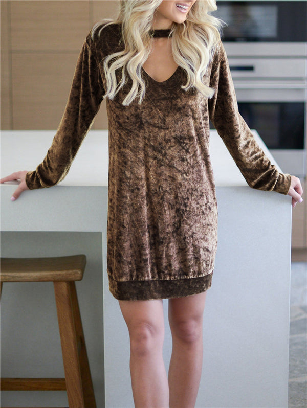 Velvet V-neck Long Sleeve Dress