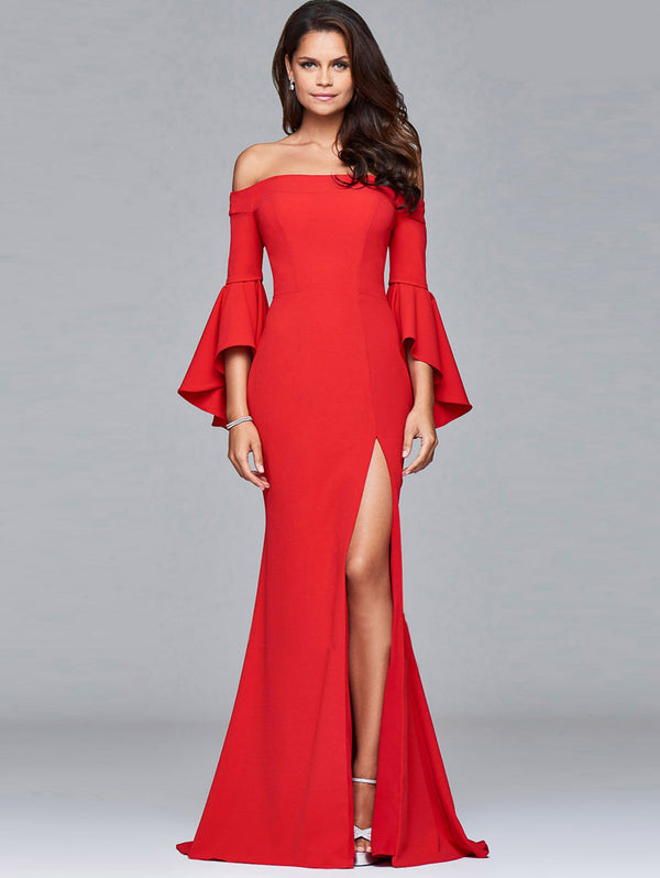 Off Shoulder Split Evening Dress