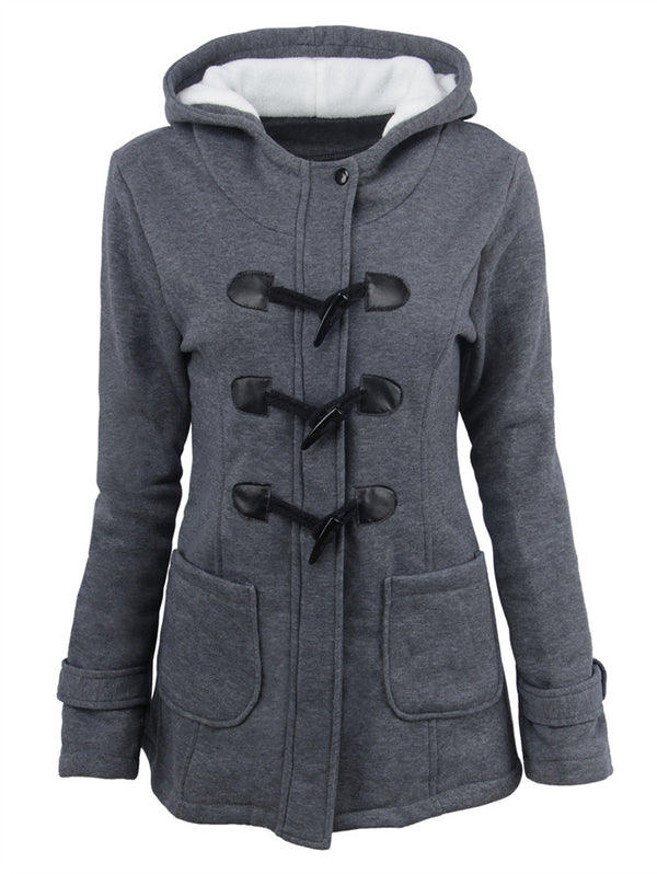 Hooded Horn Buckle Mid Length Coat