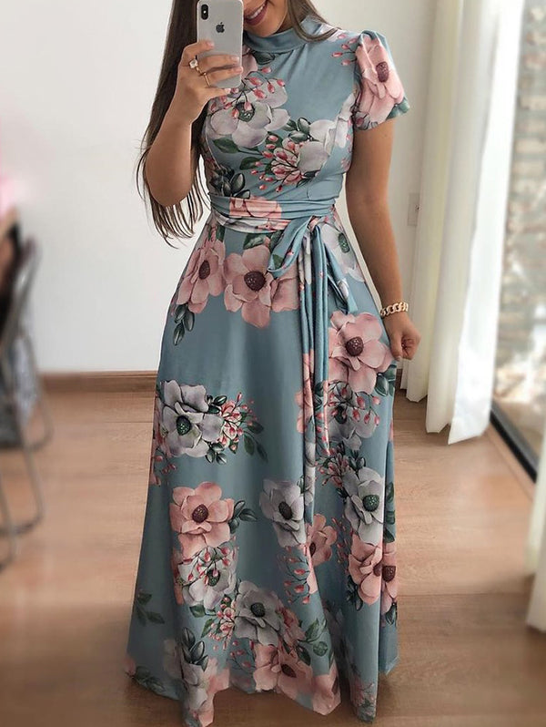 Flower Print Short Sleeve Maxi Dress