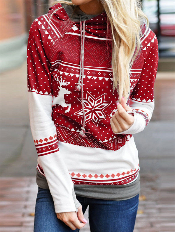 Christmas Snowflake Hooded Long Sleeve Sweater