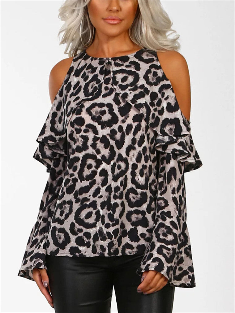 Leopard Off-the-shoulder Long Sleeve Shirt