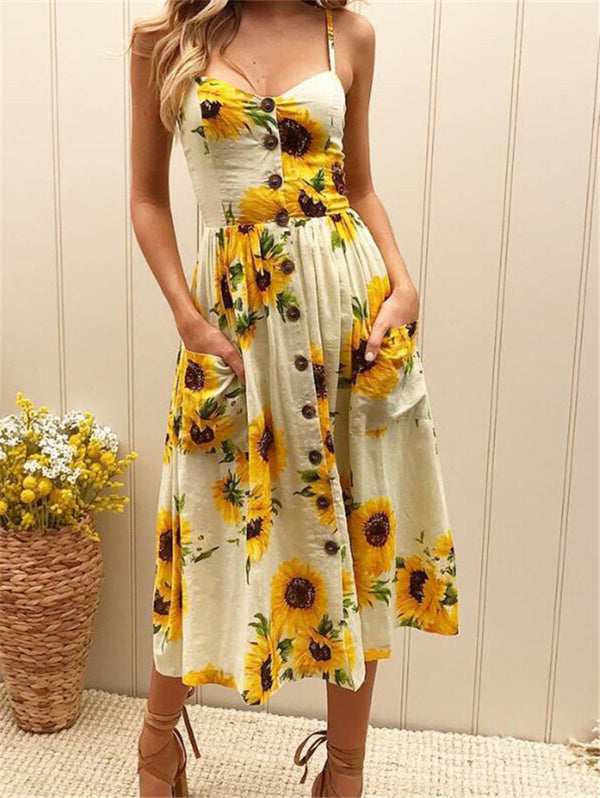 Sunflower Printed Sling Sexy Dress