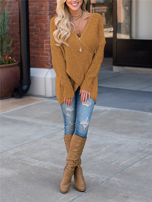Deep V Long Sleeve Knitwear
