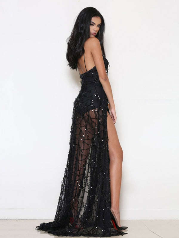 Sexy Halter Black Sling Sequins Mopping Dress Split Maxi Dress