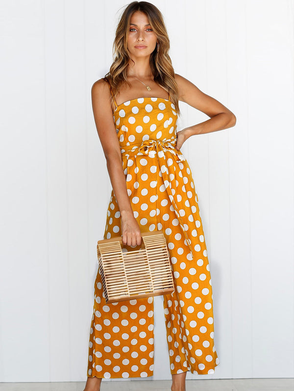 Sleeveless Strapless Sling Polka Dot Long Jumpsuit