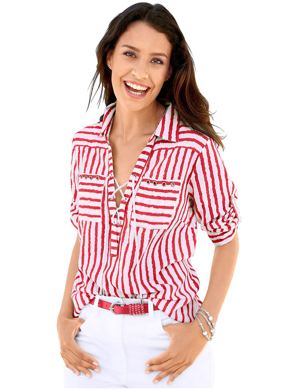 Sexy Long Sleeve V Neck Stripe Shirts
