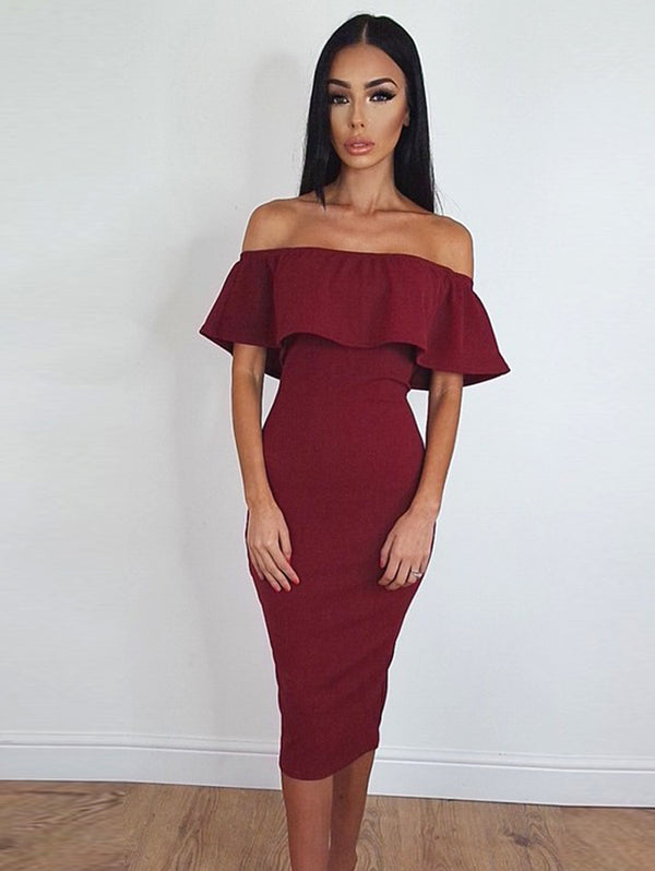 Sexy Button-Down Falbala Slit Shift Dress