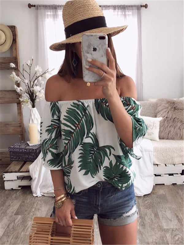 Print Off-the-shoulder Shirt