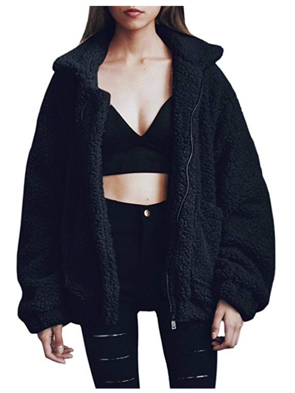 Fashion Winter Zipper Plush Coat