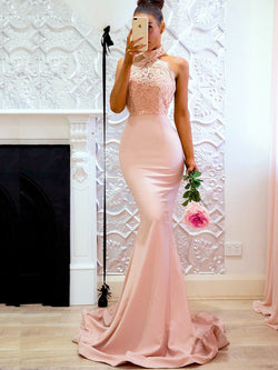 Pink Sleeveless Halter Wedding Dress