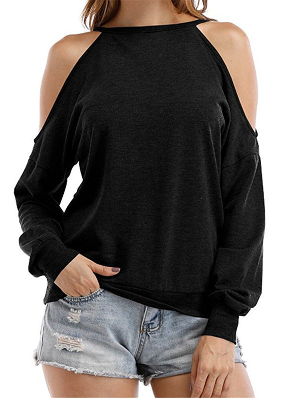 Round Neck Strapless Solid Long sleeve Mid Length Top