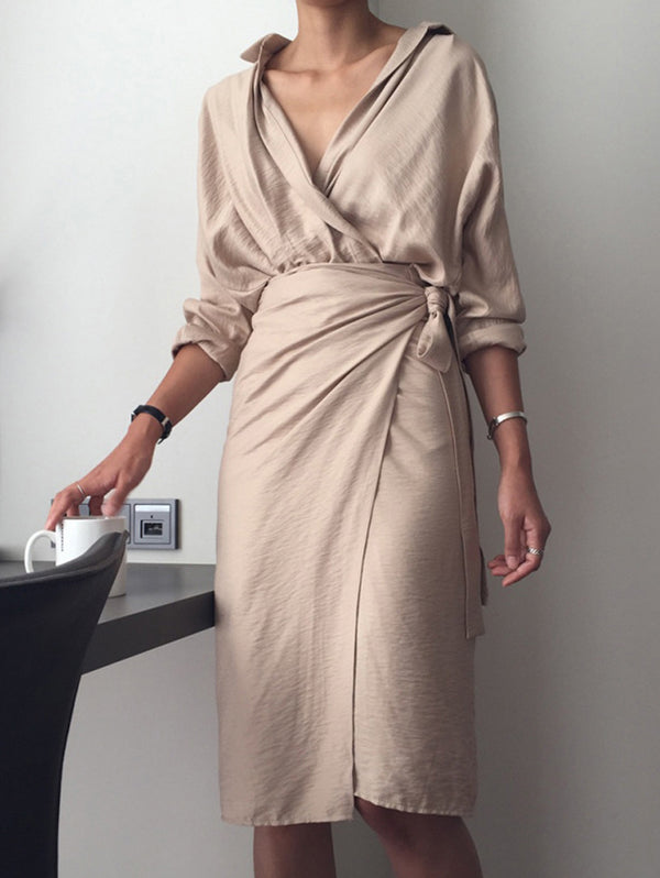 Strap V-neck Long Sleeved Solid Color Dress