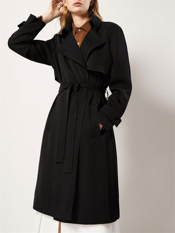 Classic OL Solid Color Lapel Trench Coats