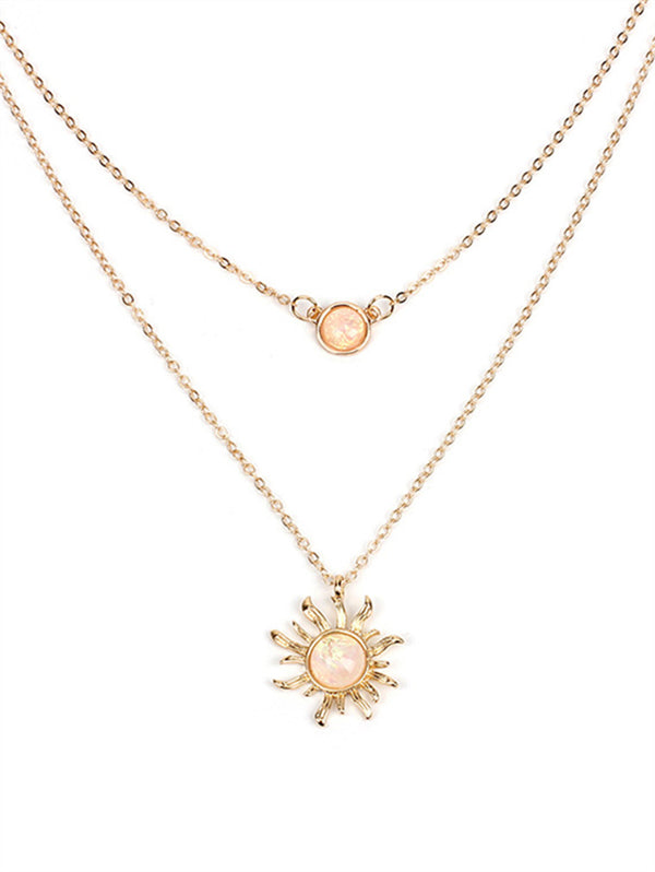 Multi-layered Sun Flower Clavicle Chain Fashion Necklace