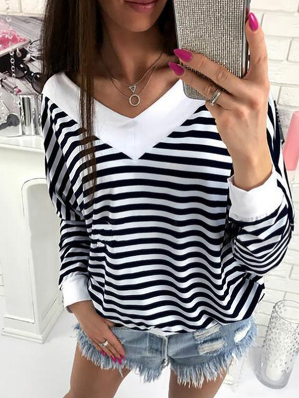 V-Neck Stripes Loose Shirt