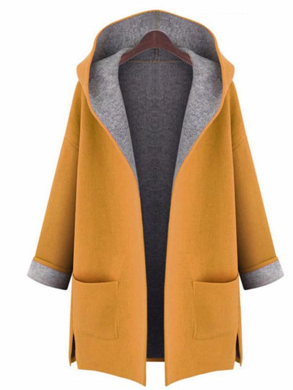 Loose Hooded Cardigan Woolen Coat
