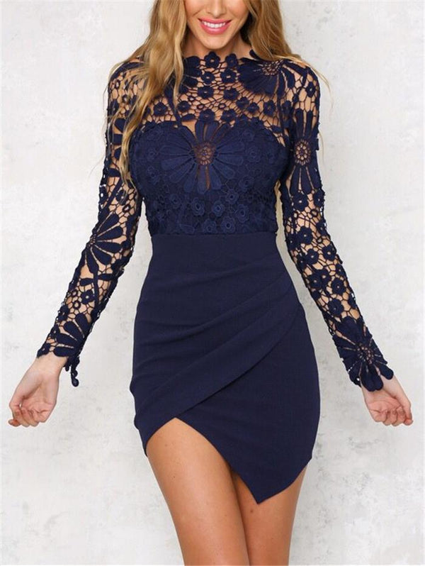 Sexy Lace Asymmetric Stitching Slim Dress