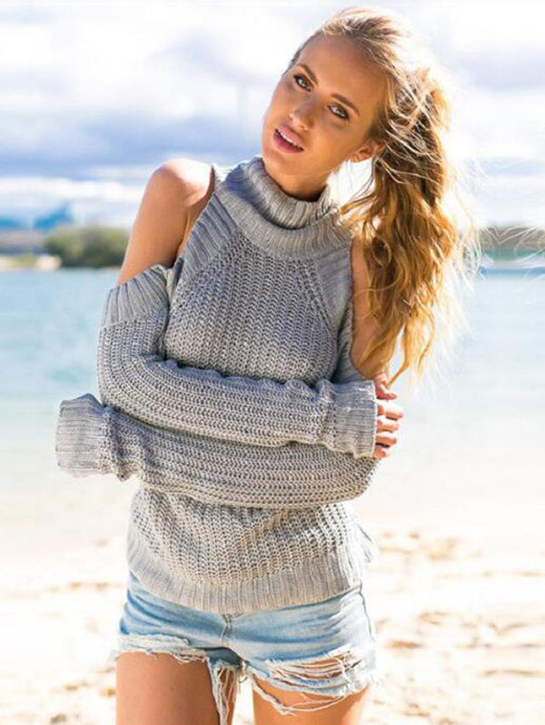 Half-neck Off-the-shoulder Sweater