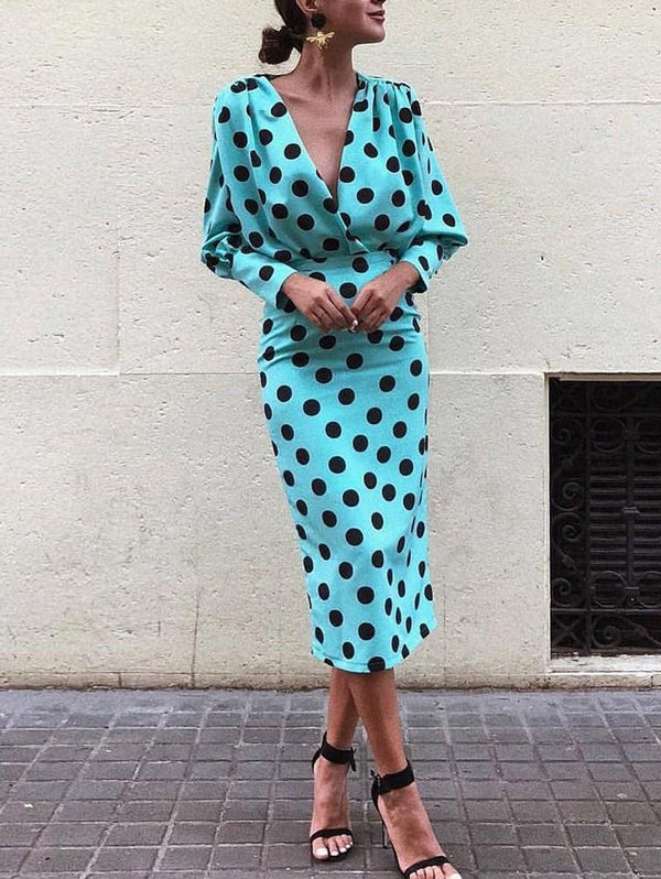Deep V-neck Long-sleeved Bohemian Polka Dot Dress