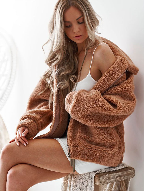 Faux Fur Plush Loose Coat