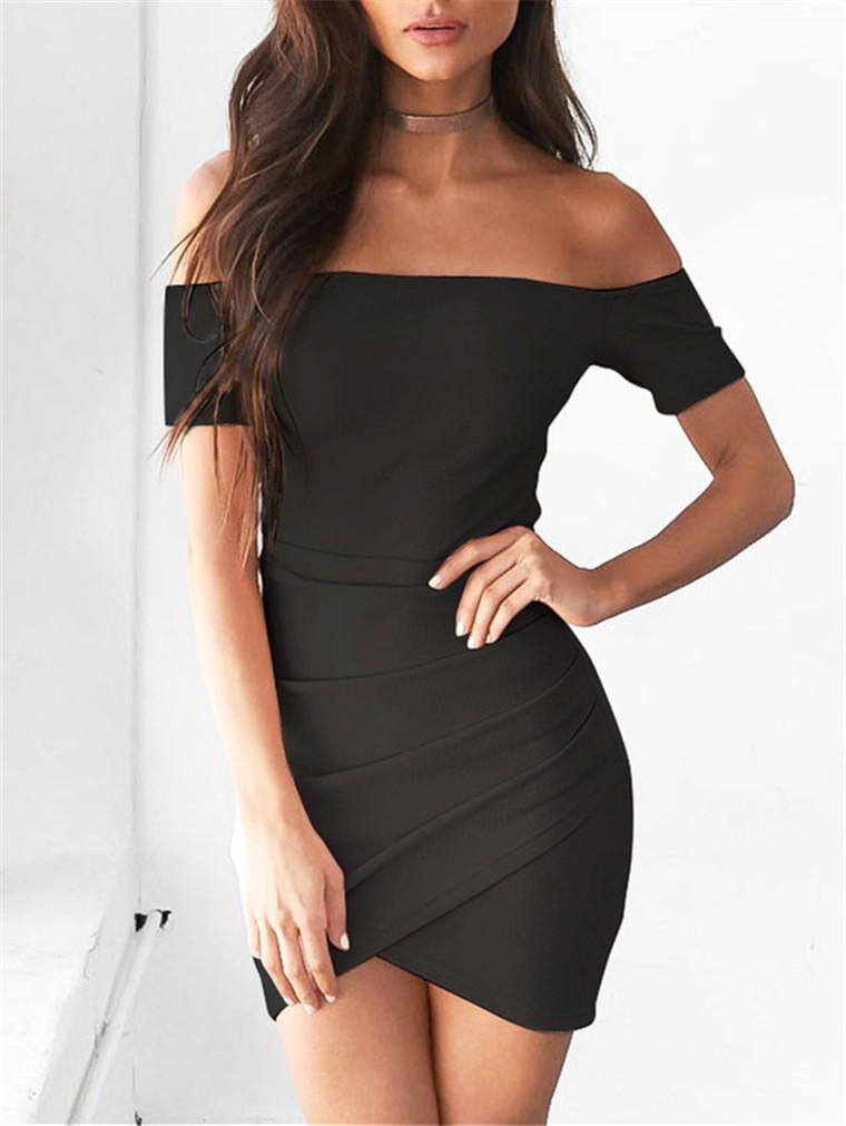Slash Neck Solid Color Sexy Dress