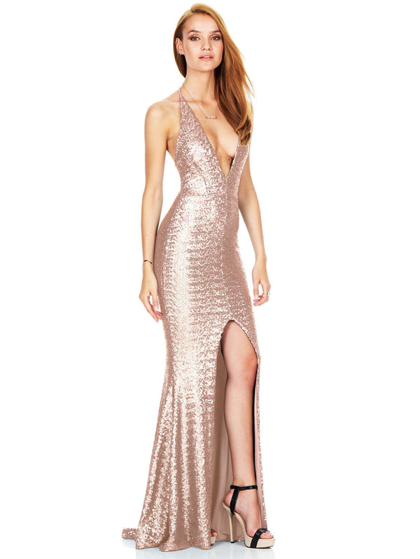 Split Halter Sling Sexy Sequin Deep V Beaded Evening Dress