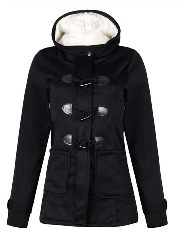 Horn Buckle Hooded Long Sleeve Jacket