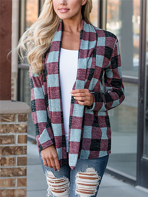 Plaid Stitching Print Coat
