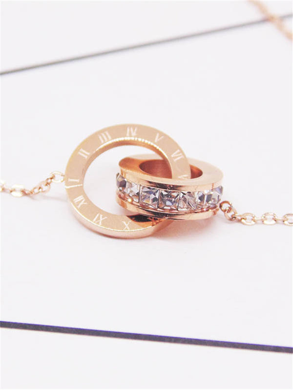 Rose Gold Stainless Steel Roman Numerals Short Clavicle Necklace