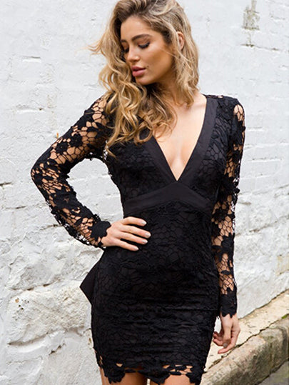 Lace Backless V-Neckline Bodycon Dresses