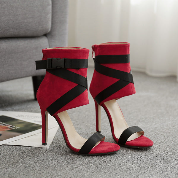 Two Part Ankle Strap Block Heeled Pumps