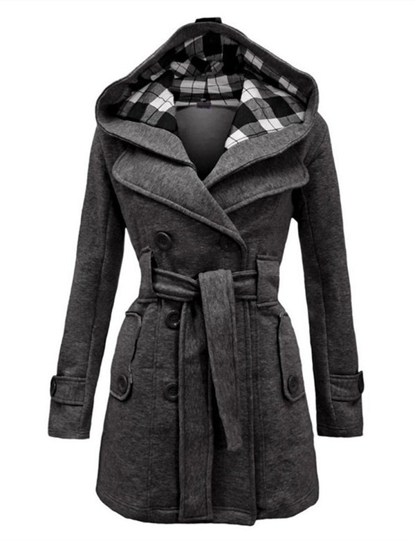Checkered Hooded Belt Double-breasted Long Coat