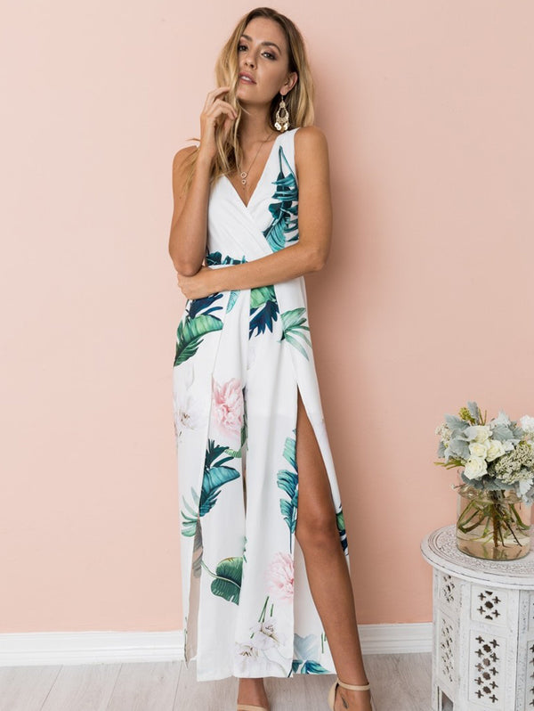 Printed Off-The-Shoulder V-Neckline Jumpsuit