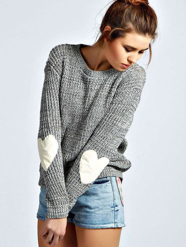 Round Neck  Love Elbow Pullover Sweater