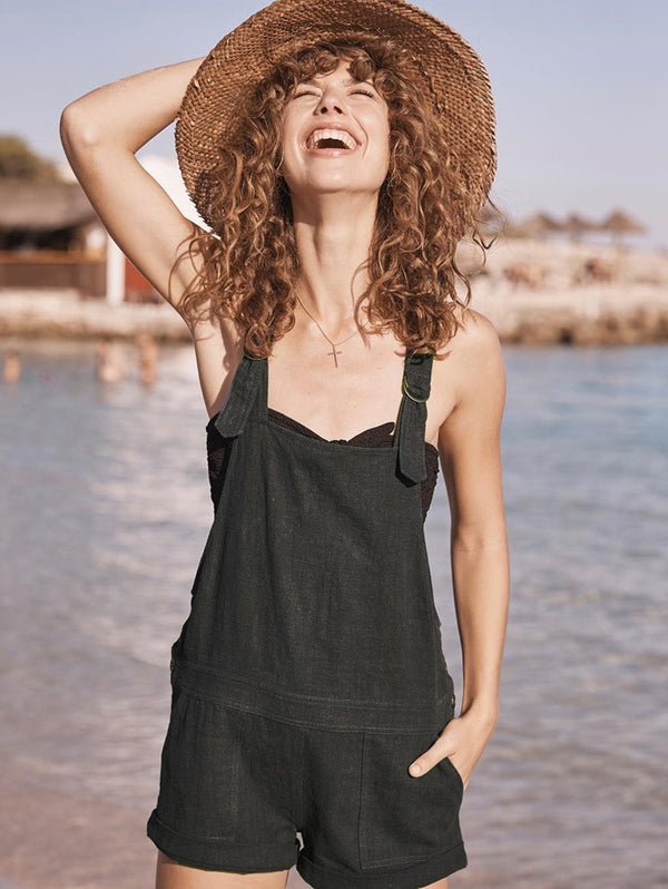 Retro Solid Color Shorts Bib Jumpsuit