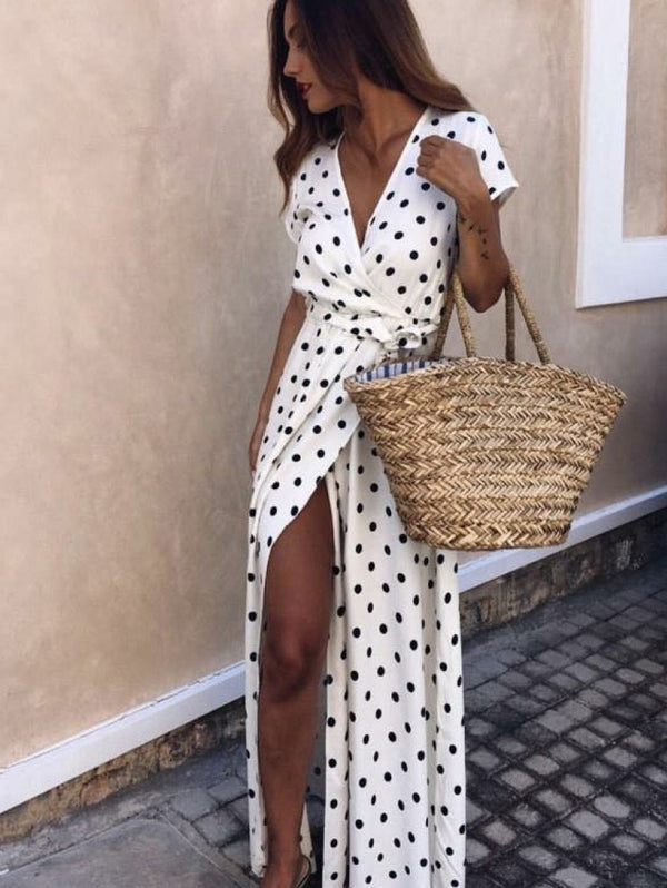 Polka Dot Print V-Neck Short Sleeve Split Dress