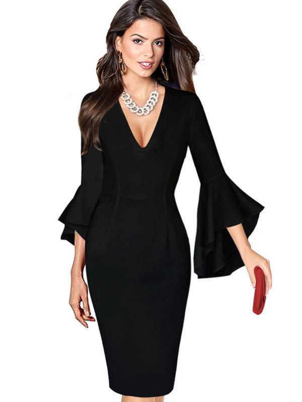 Sexy Deep V Flare Sleeve Waist Maxi Dress