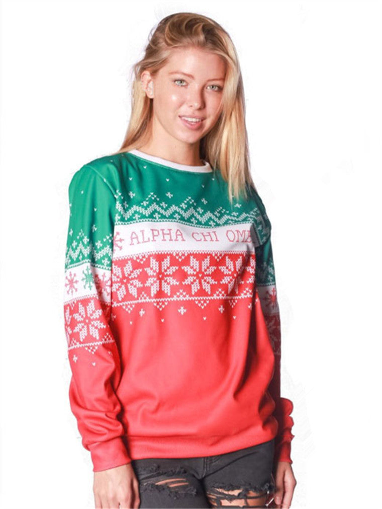 Christmas Snowflake Stitching Long Sleeve Sweater